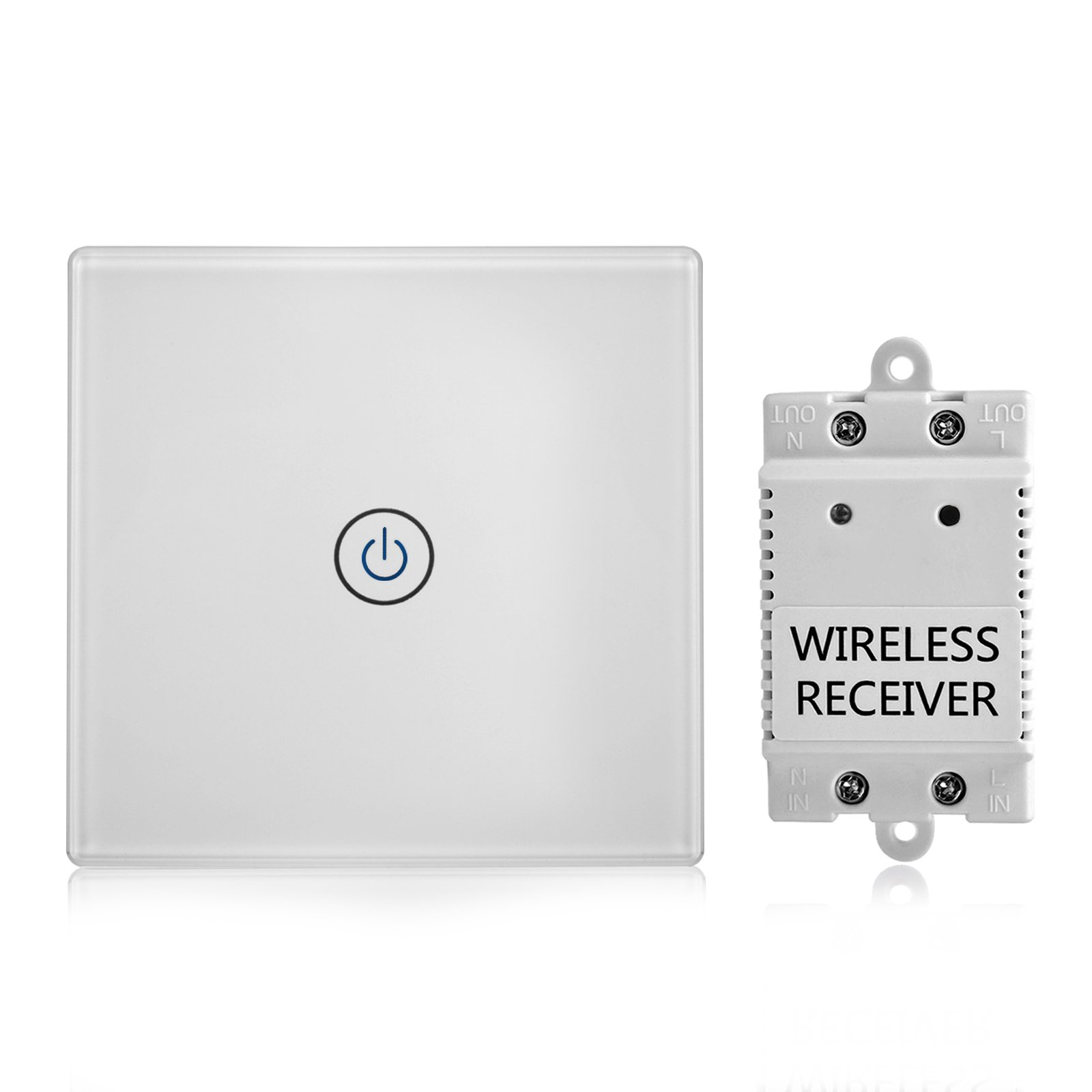 Wireless Light Switch and Receiver Kit Remote Control Ceiling Lamp LED Bulb Glass Panel Adhesive Tape Installation Touch Sensitive