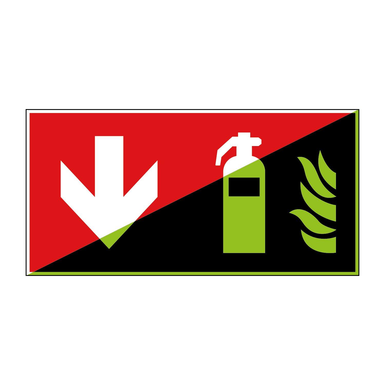 Feuerlö scher Brandschutzzeichen 300x150mm - lang nachleuchtend - Folienschild selbstklebend - gem. ASR 1.3, DIN ISO 7010 (F001+Pfeil unten) Canosign Werbetechnik