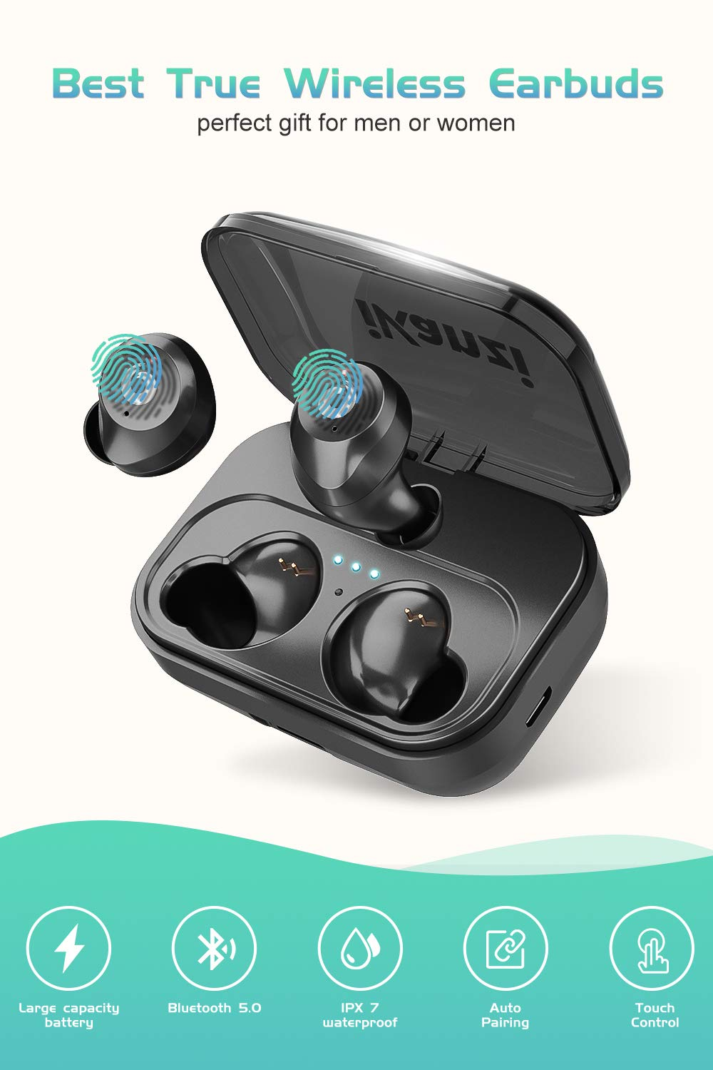 Bluetooth Earbuds True Wireless Earbuds 2019 Newest Version Bluetooth 50 IPX7 Waterproof 3D Stereo