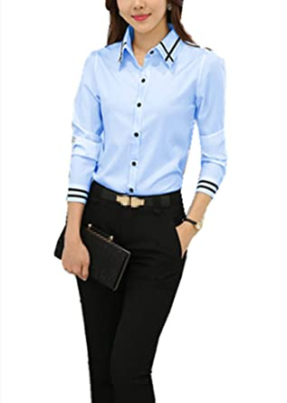 77462170047b Taiduosheng Womens Basic Long Sleeve Slim Button Down Collared Shirts OL Work  Shirts XS Blue