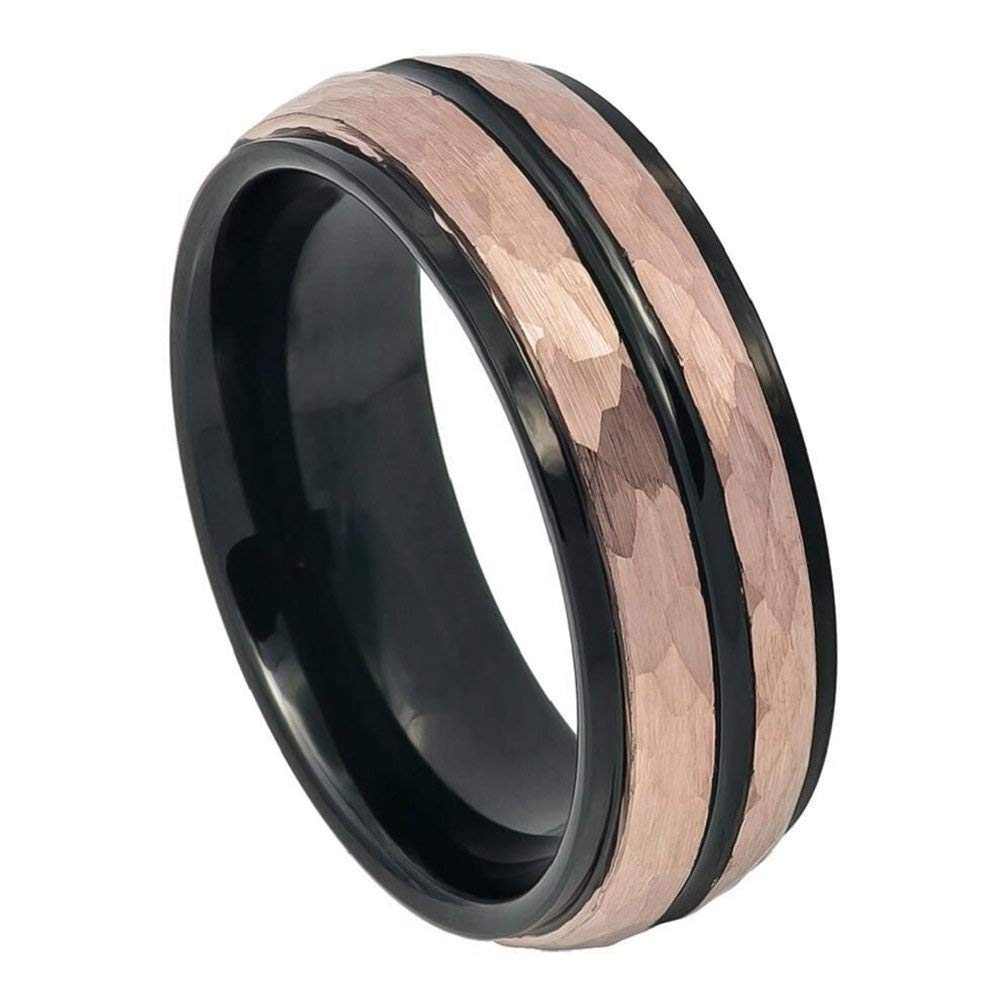 Free Engraving 8mm Tungsten Carbide Two-Tone Black IP Inside Rose Gold IP Hammered Finish with Black IP Center Groove Stepped Edge Wedding Band Ring