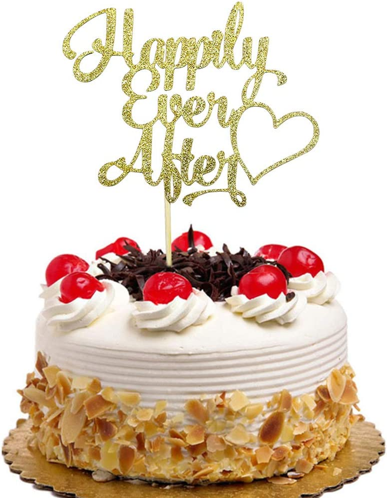 Happily Ever After Cake Topper for Wedding, Engagement, Bridal Shower Party Decorations Gold Glitter