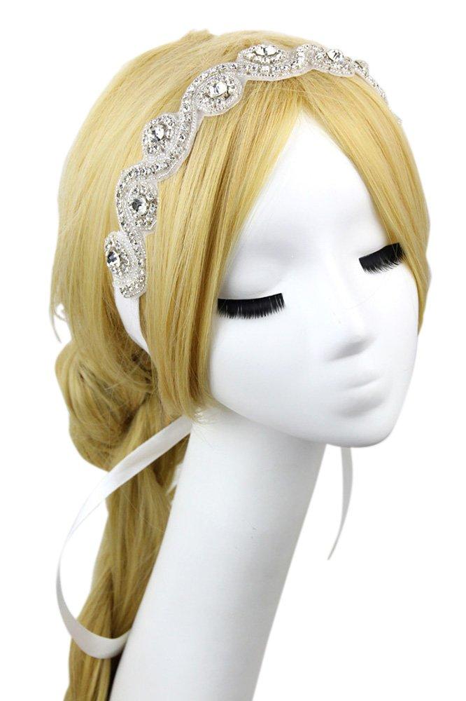 Vococal - Fascia Capelli Band Hairband Accessori per Capelli di Strass di Nastro di Raso Bianco da S...