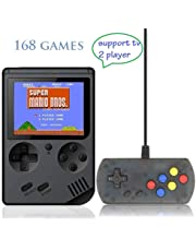 Retro Handheld Game Console, FC System Plus Extra Joystick Portable Mini Controller 3 Inch Support TV 2 Player 168 Classic Game Console,Present for Boy Kids Adult (Black)