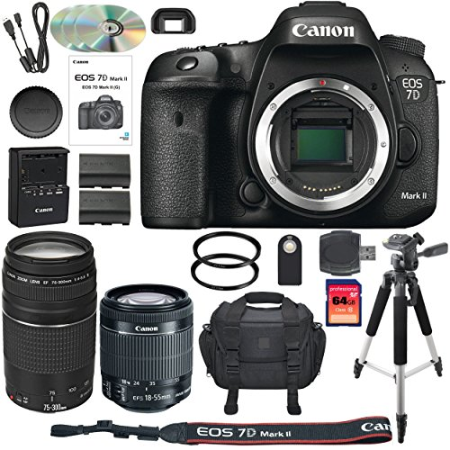 Canon EOS 7D Mark II DSLR Camera Bundle with Canon EF-S 18-55mm IS STM Lens + Canon 75-300mm III Telephoto Lens + 64GB Memory Card + Camera Case – International Version