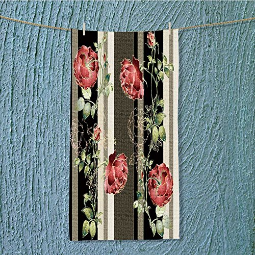 Classic Mj Flowers - L-QN gym shower towel seamless background from a flowers ornament fashionable modern wallpaper or textile Soft Cotton Machine Washable W35.4 x H11.8 INCH