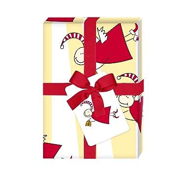 4 hojas rayas navidad papel de regalo con divertidas ángeles ...