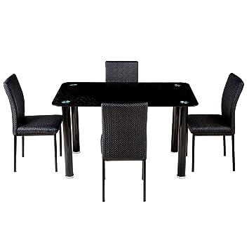 Woodness Tasmania 6167+6035 4 Seater Dinning Table Set (Glossy, Black)