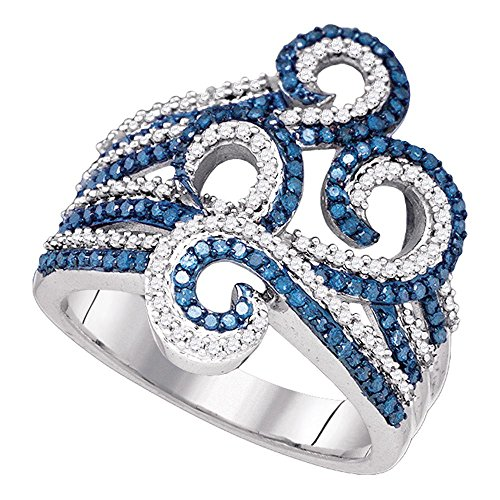 10kt White Gold Womens Round Blue Color Enhanced Diamond Wide Swirl Curl Cocktail Ring 3/4 Cttw ()