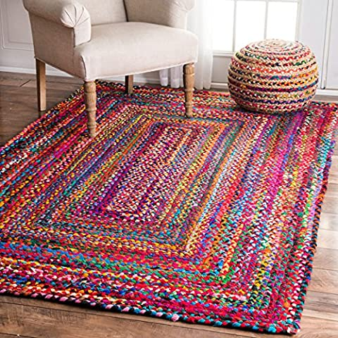 2X3 Braided rug, Rectangular Floor Mat, Indian Cotton Rug, Handmade Doormat, Multi Color Rugs, Decorative Carpets for Living room (Pattern - Cotton Indian Rug
