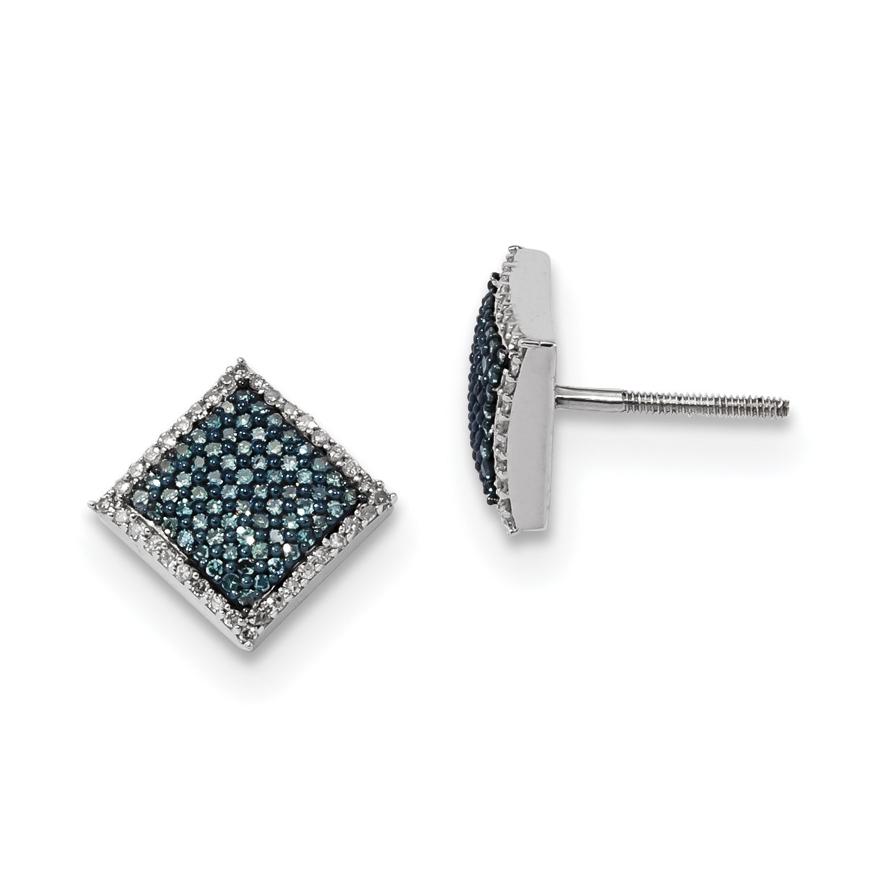 ICE CARATS 925 Sterling Silver Blue White Diamond Square Post Stud Ball Button Earrings Fine Jewelry Gift Set For Women Heart