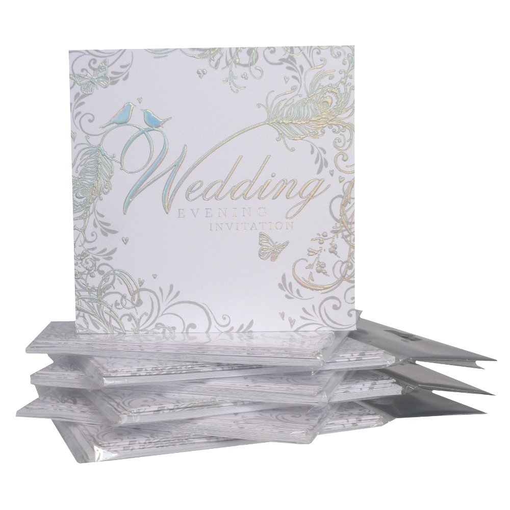 Pack Of 36 Simon Elvin Wedding Evening Invitations - Silver Scroll ...