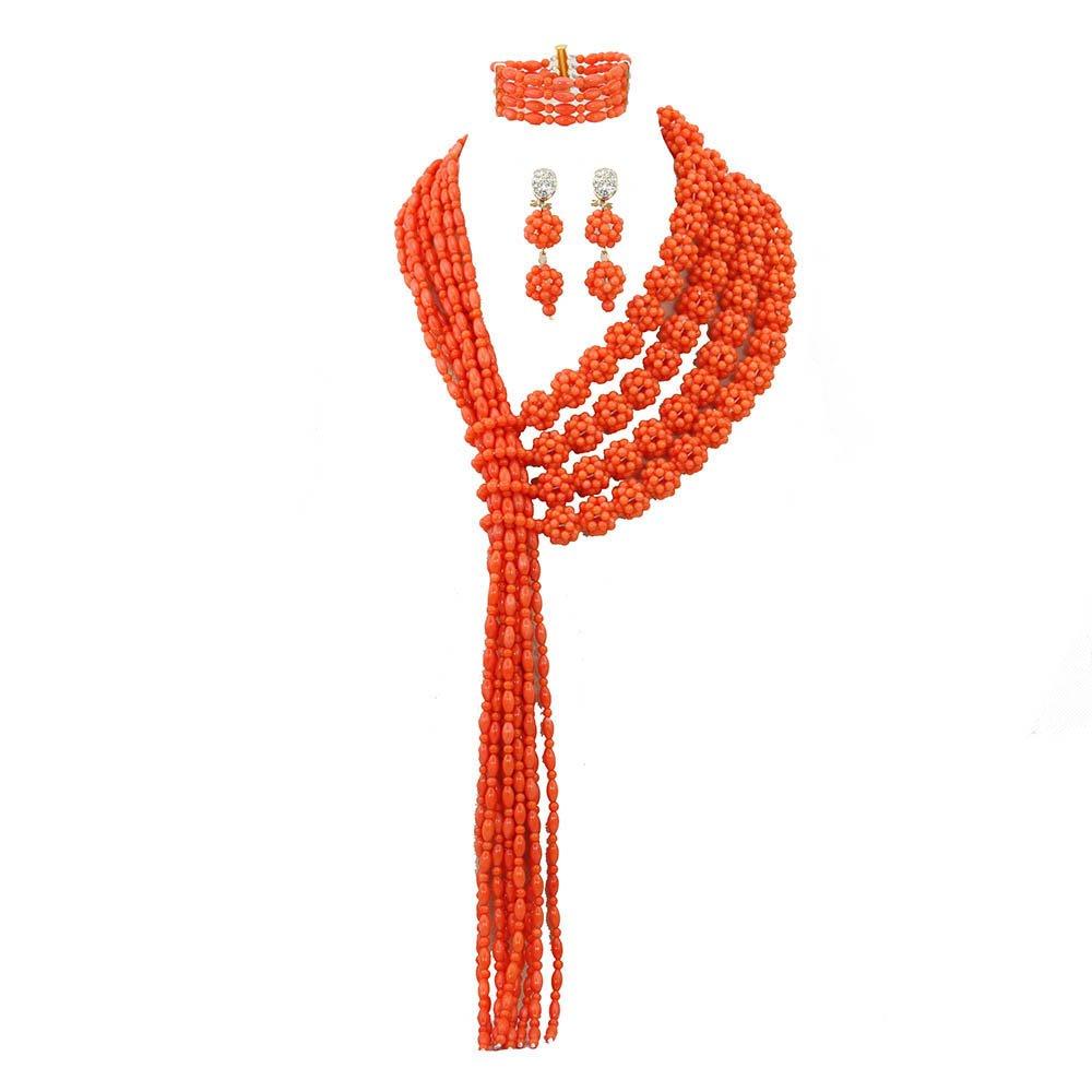 AfricanBeads naranja disfraz africano naturales perlas de coral ...