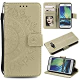 Galaxy A3 2015 Floral Protective Wallet Case,Galaxy A3 2015 Strap Flip Case,Leecase Pretty Elegant Embossed Totem Flower Design Pu Leather Bookstyle Magnetic Card Slots Wrist Strap Rose Gold Soft Inner Stand Flip Skin Case Cover Book Style With Lanyard Strap for Samsung Galaxy A3 2015 + 1 x Free Black Stylus-Gold