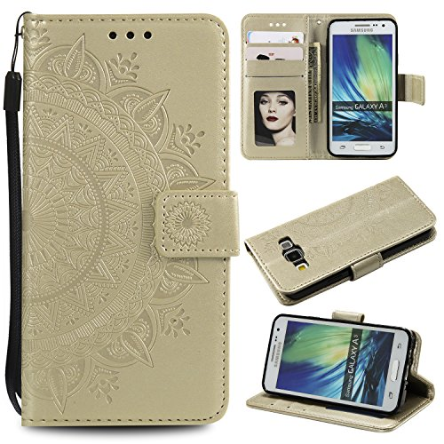 Galaxy A3 2015 Floral Wallet Case,Galaxy A3 2015 Strap Flip Case,Leecase Embossed Totem Flower Design Pu Leather Bookstyle Stand Flip Case for Samsung Galaxy A3 2015-Gold by Leecase