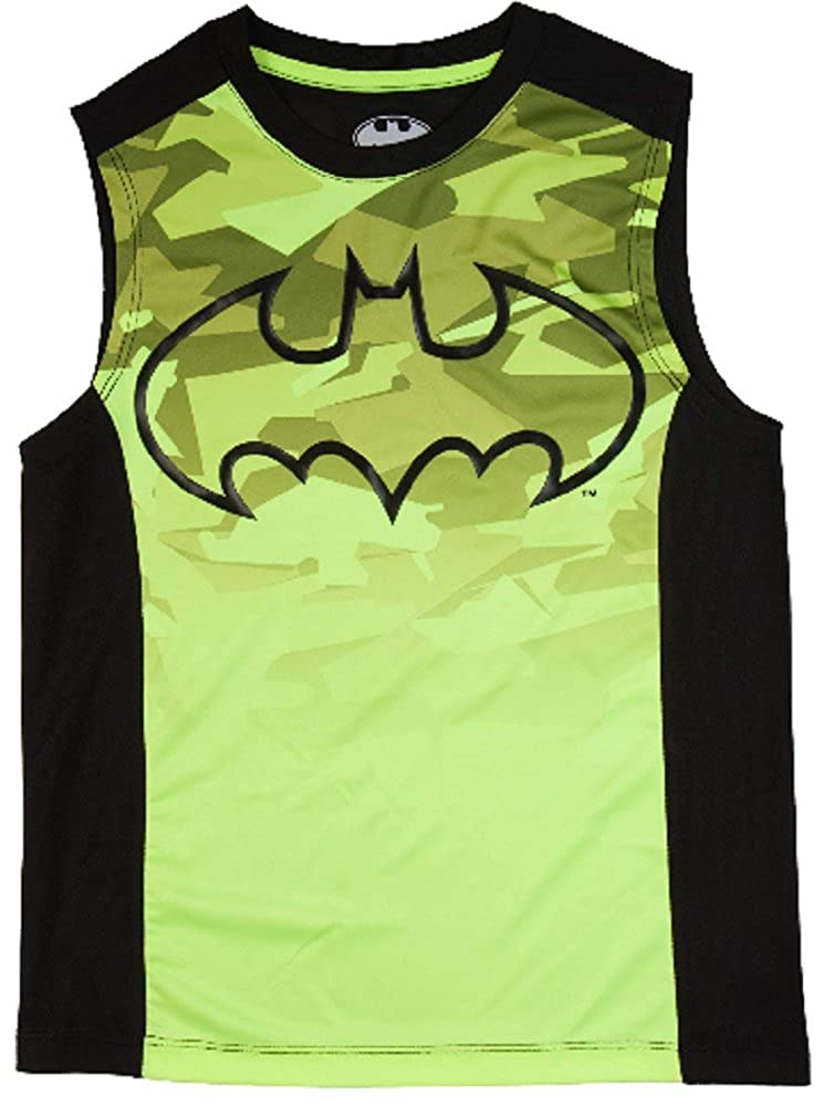 Batman Boys Acid Yellow & Black Muscle Tank (Large 10/12)