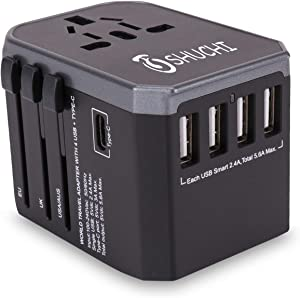 Travel Adapter ,All in One Wall Charger AC with 3.0 A Type C and 4 USB for UK USA EU AUS Asia