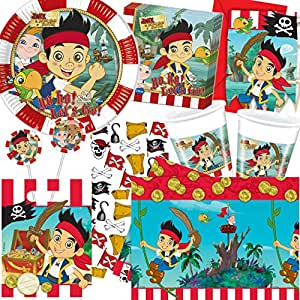 Dekospass - Juego de cumpleaños para niños (de 6 a 8 niños, incluye platos, vasos, servilletas, invitaciones, bolsas, pajitas, globos y serpentina), diseño de Jake y los piratas del país de Nunca Jamás