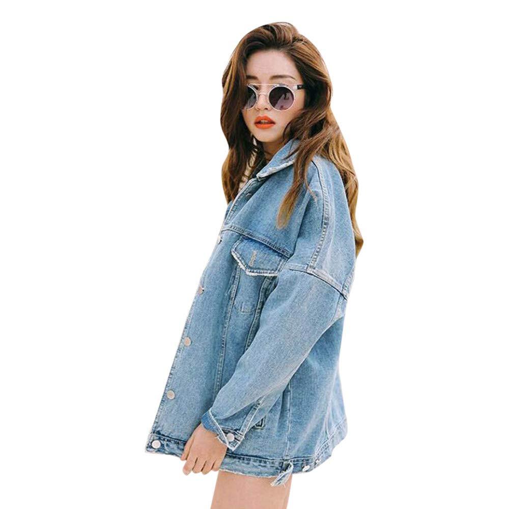 OCASHI Oversized Denim Jacket for Women Long Sleeve Boyfriend Jean Jacket Loose Coat