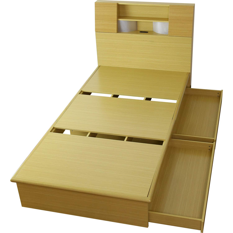 DORIS ベッド シングル フレームのみ 収納付き 照明付き 扉付き 組立式 オーク クライブ B07GYCS6J3 オーク シングル