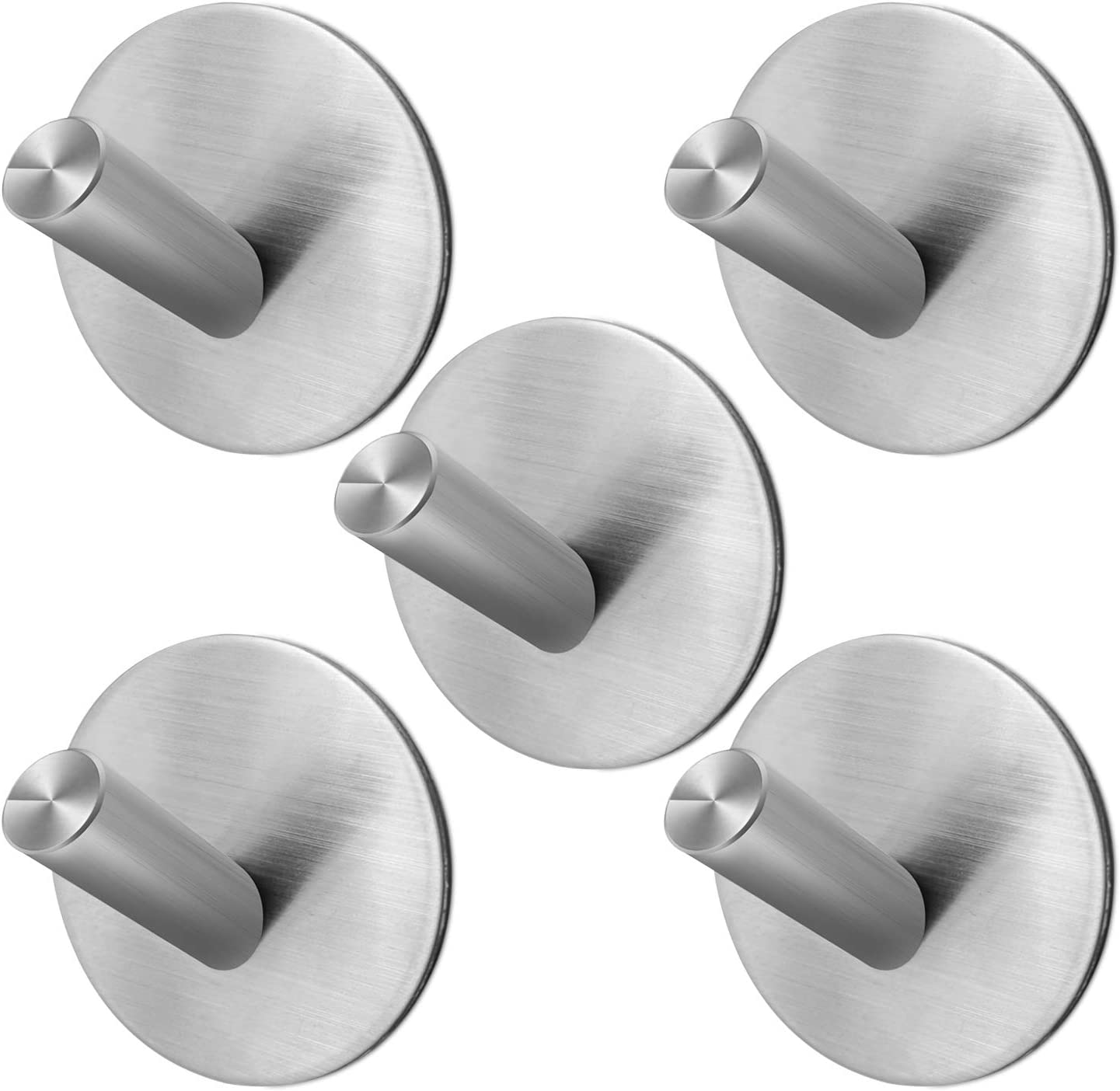 Jekoo Adhesive Hooks, Towel Hooks Heavy Duty Wall Hook for Hanging with SUS304 Stainless Steel for Shower Bathroom Kitchen Office Ideal for Robes, Towels, Clothes, Bags, Keys, Hats - 5 Packs