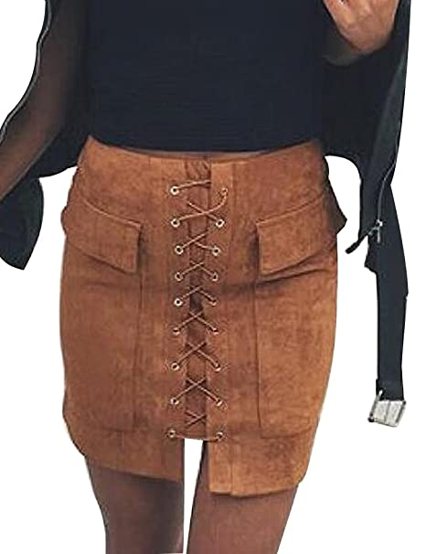 Steampunk Skirts | Bustle Skirts, Lace Skirts, Ruffle Skirts Allegrace Women Sexy Lace up Bodycon Faux Suede Fashion Big Pocket Mini Skirt $17.98 AT vintagedancer.com