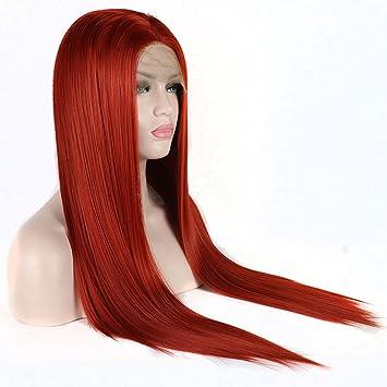 Wigs Peluca De Encaje Recta Roja del Frente del Cordón del Pelo Sintético del 180%