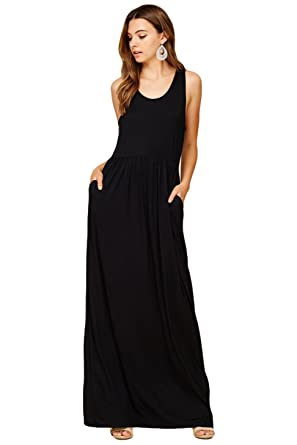 c77ec2b6d549 Annabelle Women's Casual Racerback Tank Top Sleeveless Long Maxi Dresses  Medium Black D5187