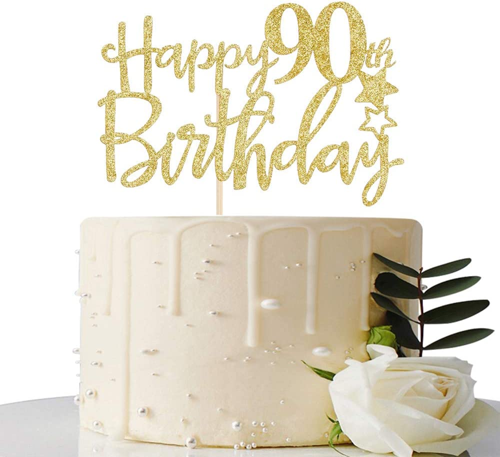 Excellent Amazon Com Maicaiffe Gold Giltter Happy 90Th Birthday Cake Topper Personalised Birthday Cards Veneteletsinfo