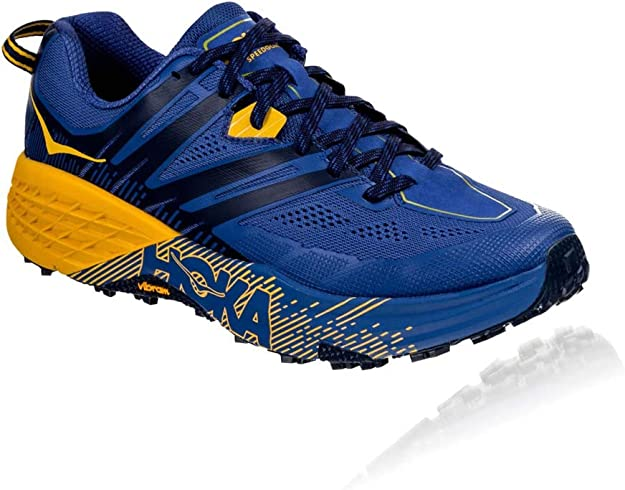 HOKA ONE ONE Mens Speedgoat 3 Blue/Old Gold Trail Runner - 8