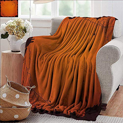 PearlRolan Custom Sofa Bed Throw Blanket,Spider Web,Grunge Halloween Composition Scary Framework with Insects Abstract Cobweb,Orange Brown,300GSM,Super Soft and Warm,Durable Blanket 50