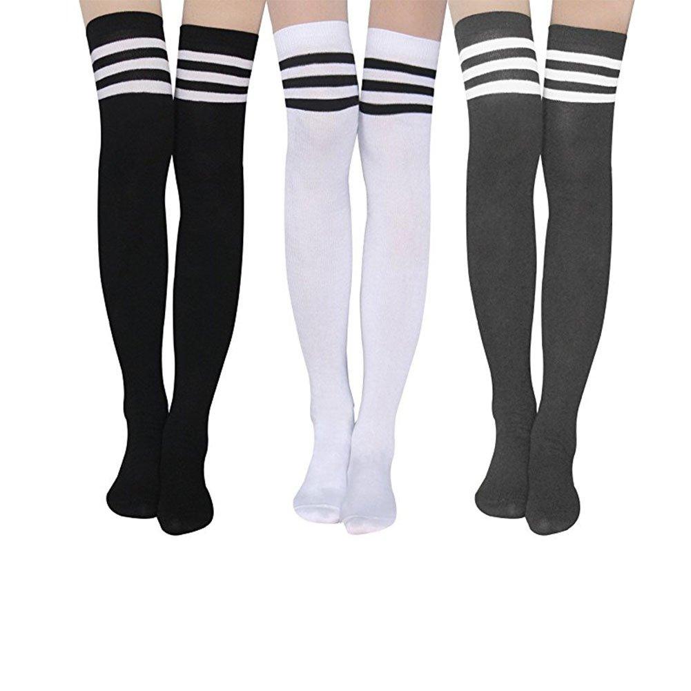 5c3ca3a75 Aispark Womens Knee High Socks Girls Long Striped Over the Knee Thigh High  Stockings Cosplay Socks (Black White Grey)
