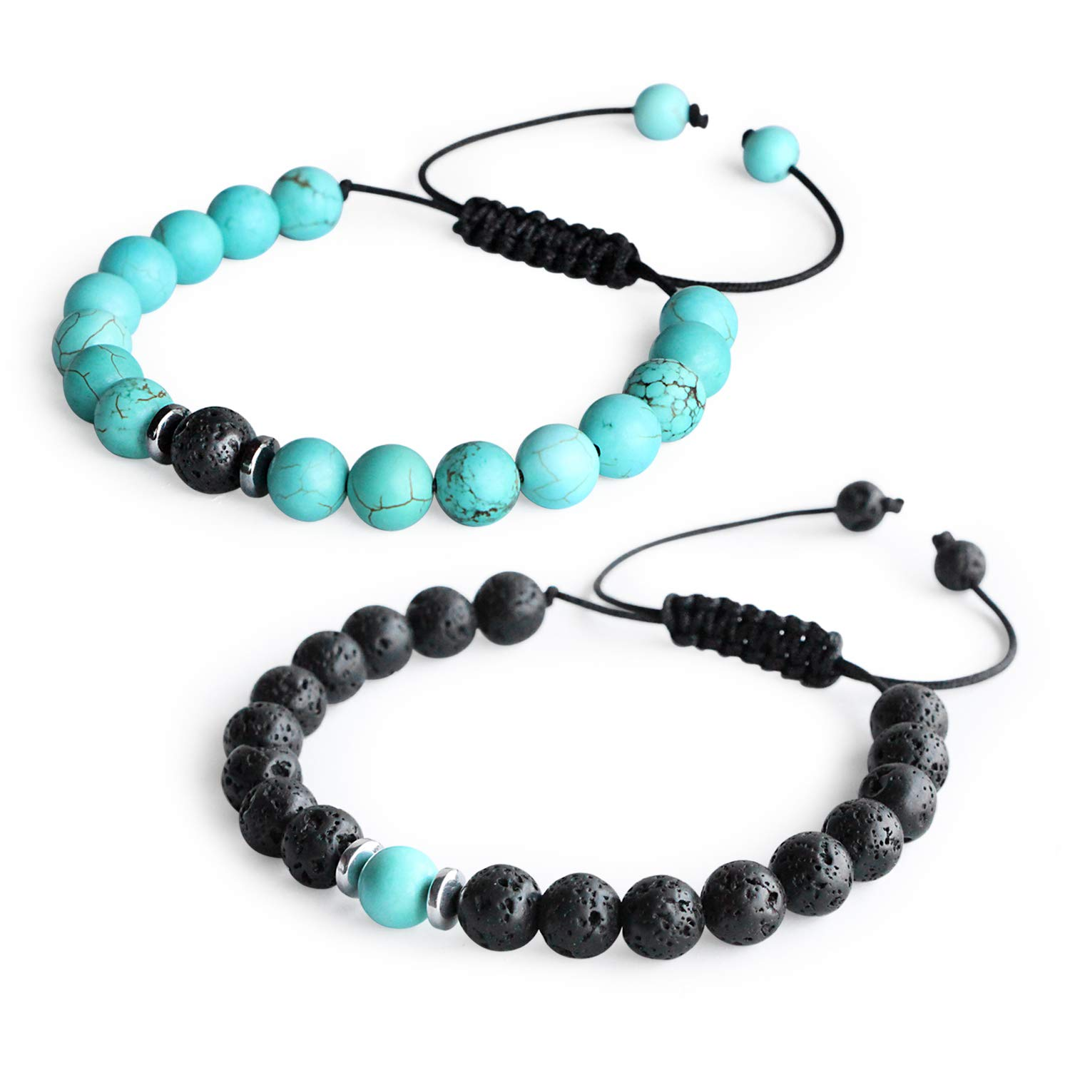 Me&Hz Braided Long Distance Bracelets Set for Women Men-Natural Turquoise Teal &Black Lava Stone Beads Couple Bracelets-Adjustable Band