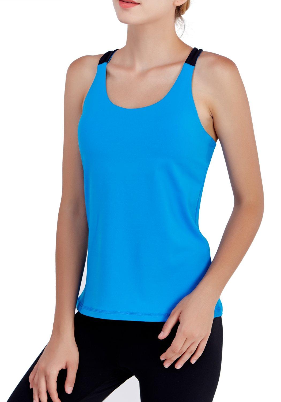 Matymats Yoga Tank Tops for Women Built In Bra Workout Sleeveless Shirts Vest Open Back