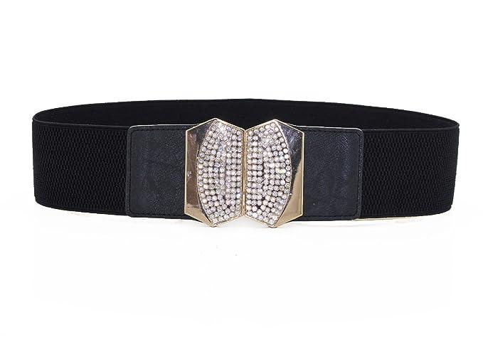 18c410bc6451c Trimming Shop Small Women's Black Elasticated Waist Belt - Design 484 with  Gold Diamantes Buckle -