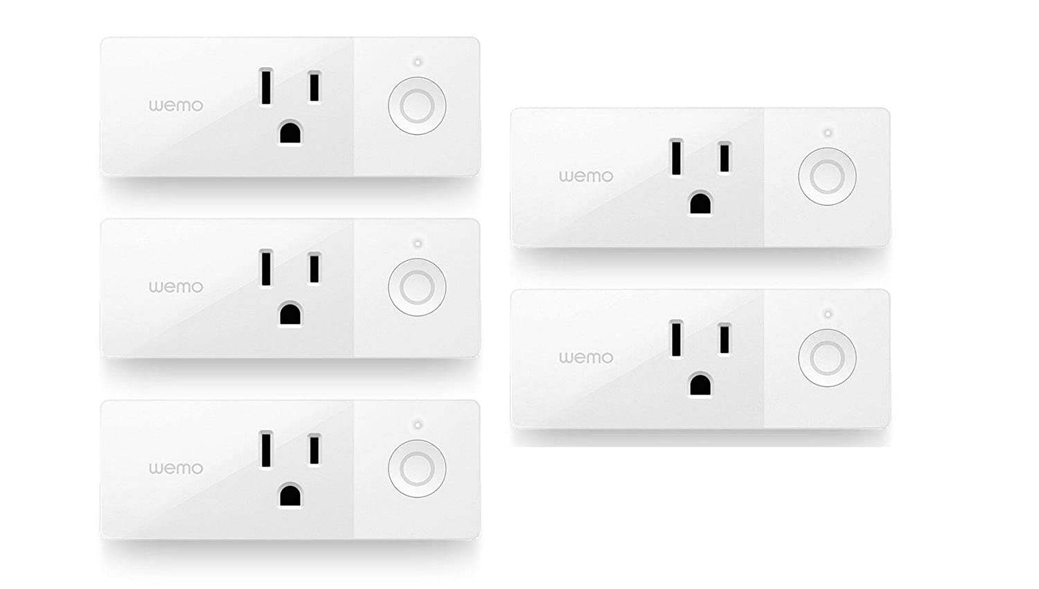 Wemo Mini Smart Plug, Wi-Fi Enabled, Compatible with Alexa (F7C063-RM2) (5 pack )(Renewed)