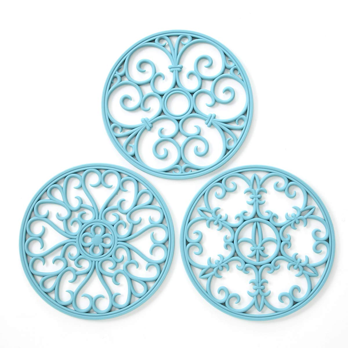 Silicone Trivet Mat - Non-Slip & Heat Resistant Kitchen Hot Pads for Countertops & Table - Kitchen Trivets for Hot Dishes & Cookware - Hot Pot Holder for Pots & Pans - Turquoise,Set of 3