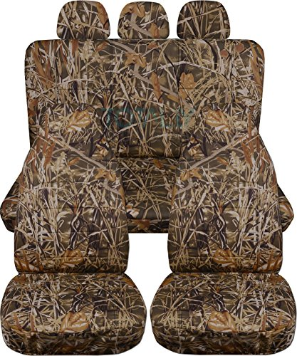 Camouflage Car Seat Covers w 3 Rear Headrest Covers: Wetland Camo - Semi-Custom Fit - Full Set - Will Make Fit Any Car/Truck/Van/SUV (22 Prints)