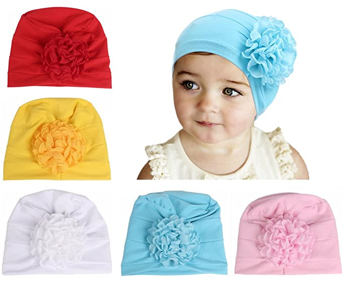 bcd4c0c560f Image Unavailable. Image not available for. Color  QandSweat Baby Girls Hats  with Curly Chiffon Flower Adorable Cap for Infant Toddler and Kids 5