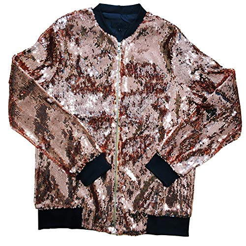 Cresay Women's Sequin Fitted Long Sleeve Zipper Blazer Bomber Jacket-Rose Gold S by Cresay (Image #2)