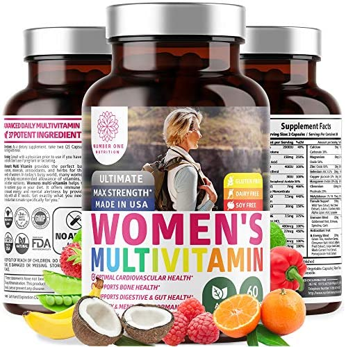 N1 Nutrition Women's Daily Multivitamin, Premium Multimineral Supplement, [37 Vitamins & Minerals] Magnesium, Biotin, Zinc, Chromium, Calcium, Copper, Antioxidants (60 Caps)