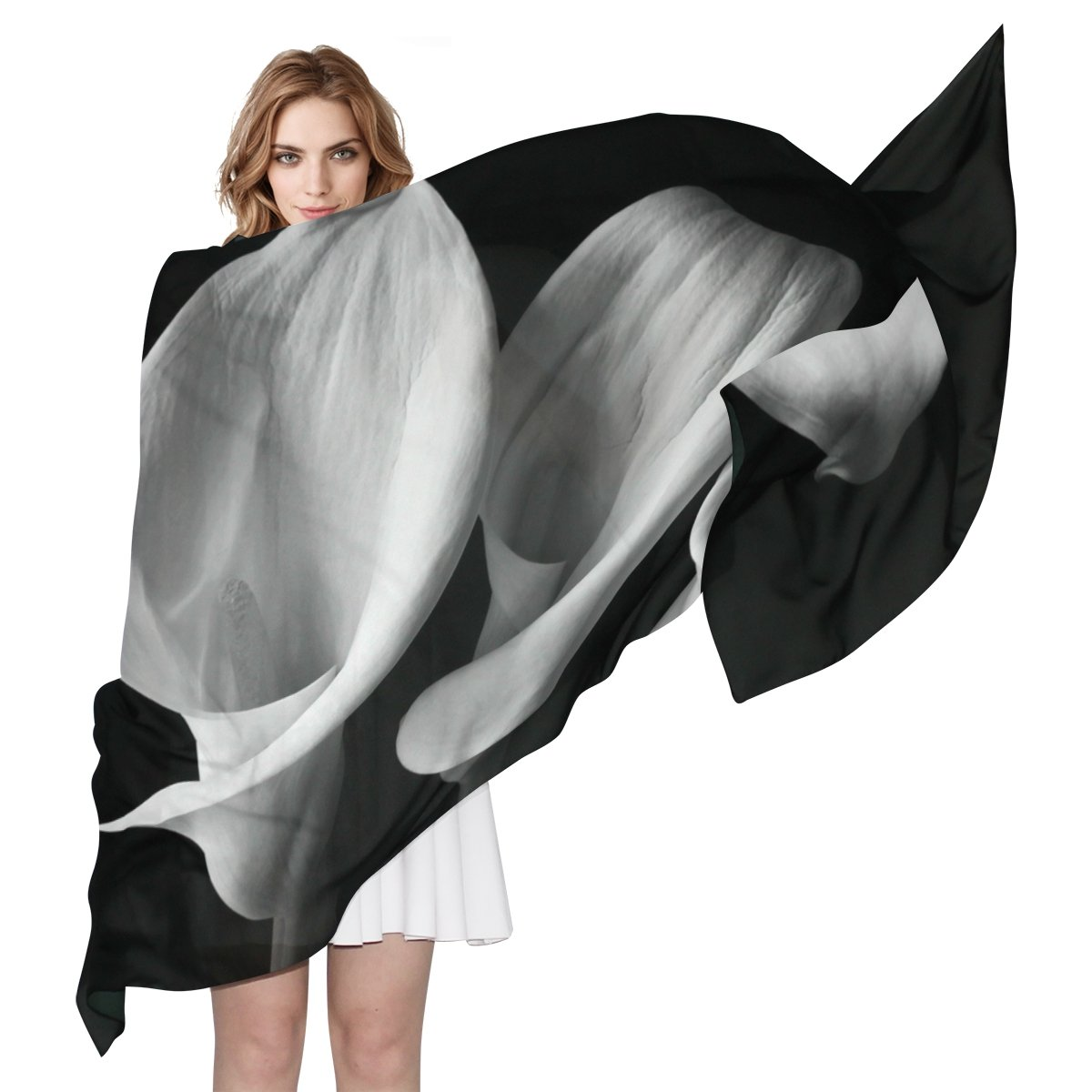 WDYSECRET Black And White Calla Lily Silk Printing Scarves for Women 70.86x35.4(in) by WDYSECRET