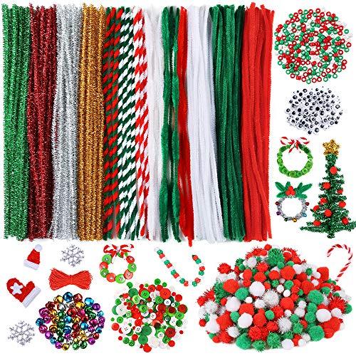 Caydo 750 Pieces Christmas Pipe Cleaners Sets, Including Pipe Cleaners, Pom Poms, Wiggle Eyes, Mixed Color Jingle Bells, Pony Beads and Resin Buttons