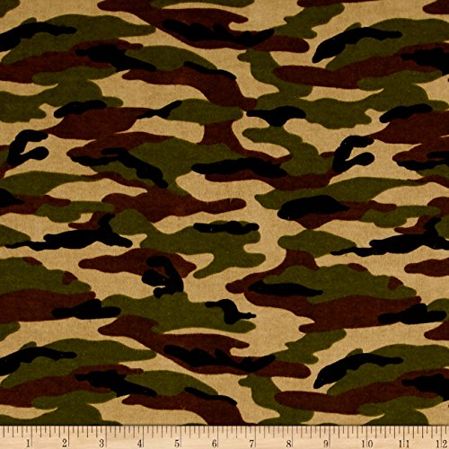 A.E. Nathan Comfy Flannel Camo Green Fabric by The ()