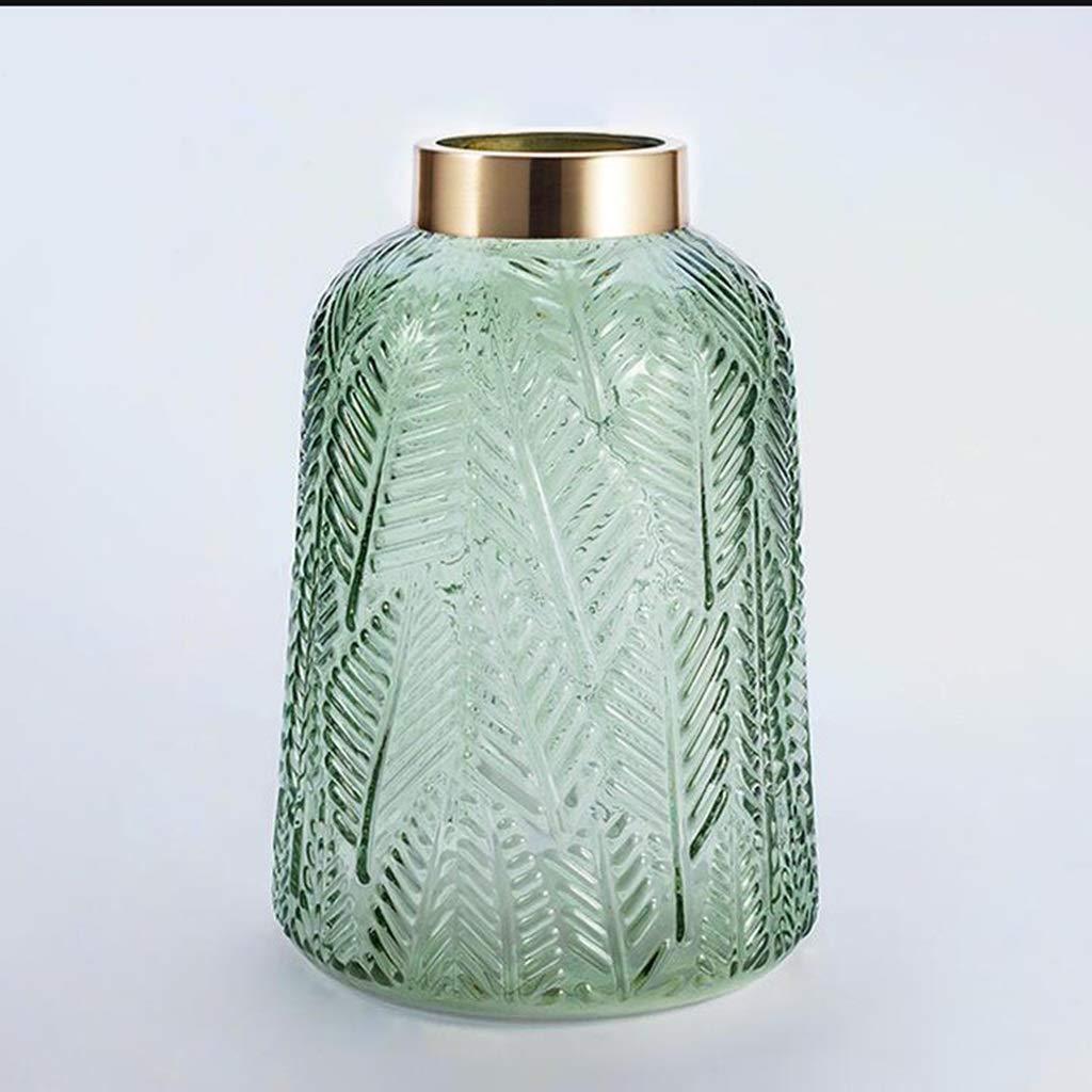 ゴールデンオープニングガラス花瓶装飾リビングルームデスクトップ水耕植物花瓶グリーン QYSZYG (サイズ さいず : 21.5cm × 14.5cm) B07RLZLJ8M  21.5cm × 14.5cm
