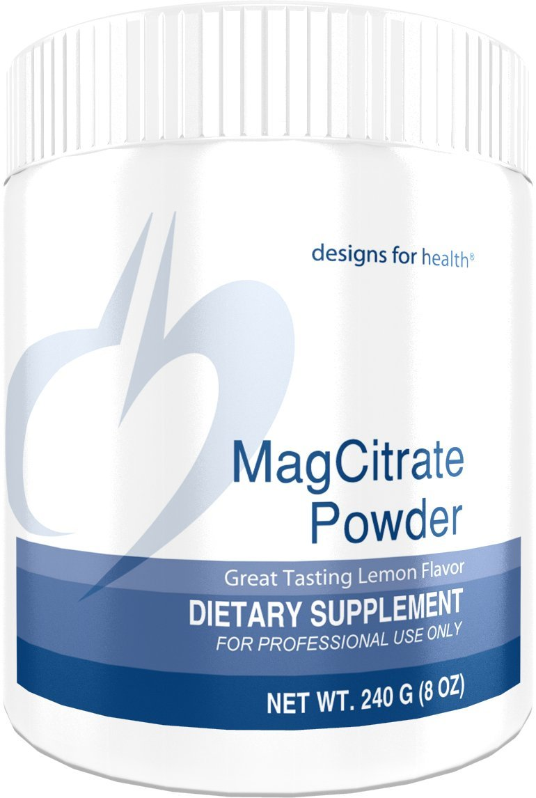 Designs for Health - MagCitrate Powder - 300mg Magnesium Citrate Calming Support, 240 Grams