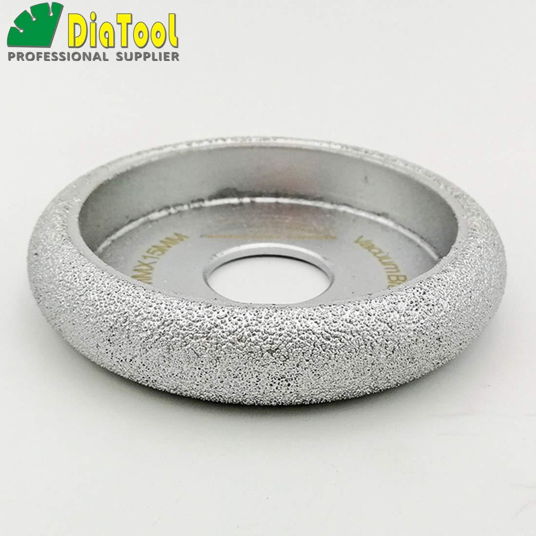 DIATOOL 3 Inch/75MM Diamond Grinding Wheel Convex Curve Brazed for Stone Abrasive Grinding disc Vacuum Brazed Profile Hand Diamond Wheel Grit 60 (Diamond Height 10mm) SHANGHAI DIATOOL CO. LTD.