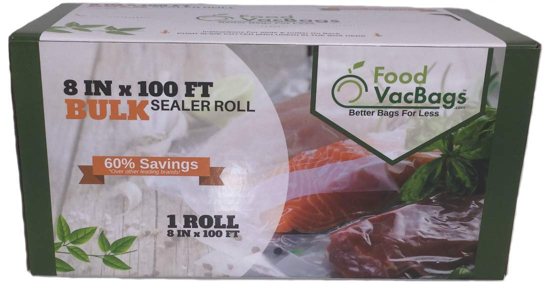 100-Feet Food Saver Compatible Vacuum Sealer Bag Roll with Cutter Box by FoodVacBags 4mil Commercial Grade Thickness, BPA-Phthalate Free, Sous Vide, Storage Bag (8'' X 100')