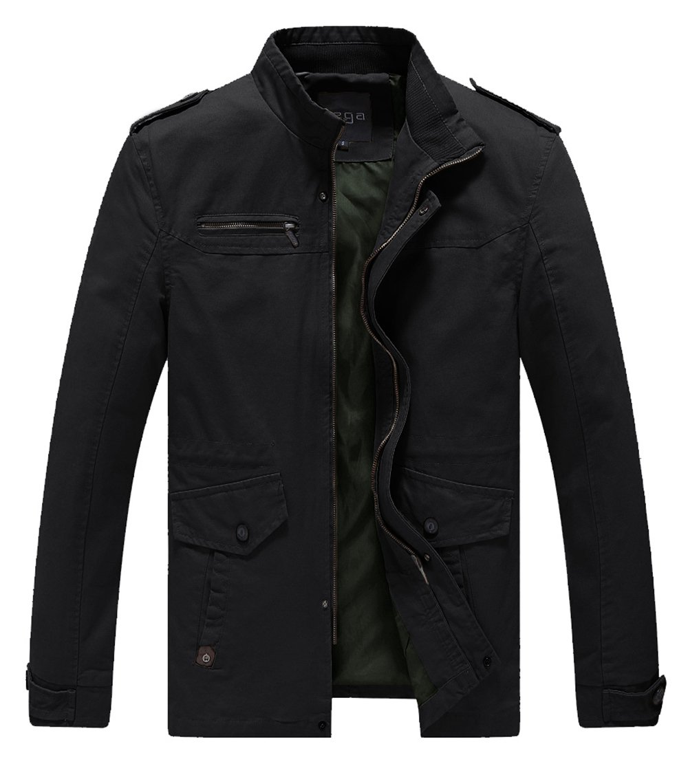 Lega Mens Cotton Classic Pea Coat Spring & Fall & Winter Ourdoor Jacket(Black/US Medium/Asia 3XL) by Lega Mens