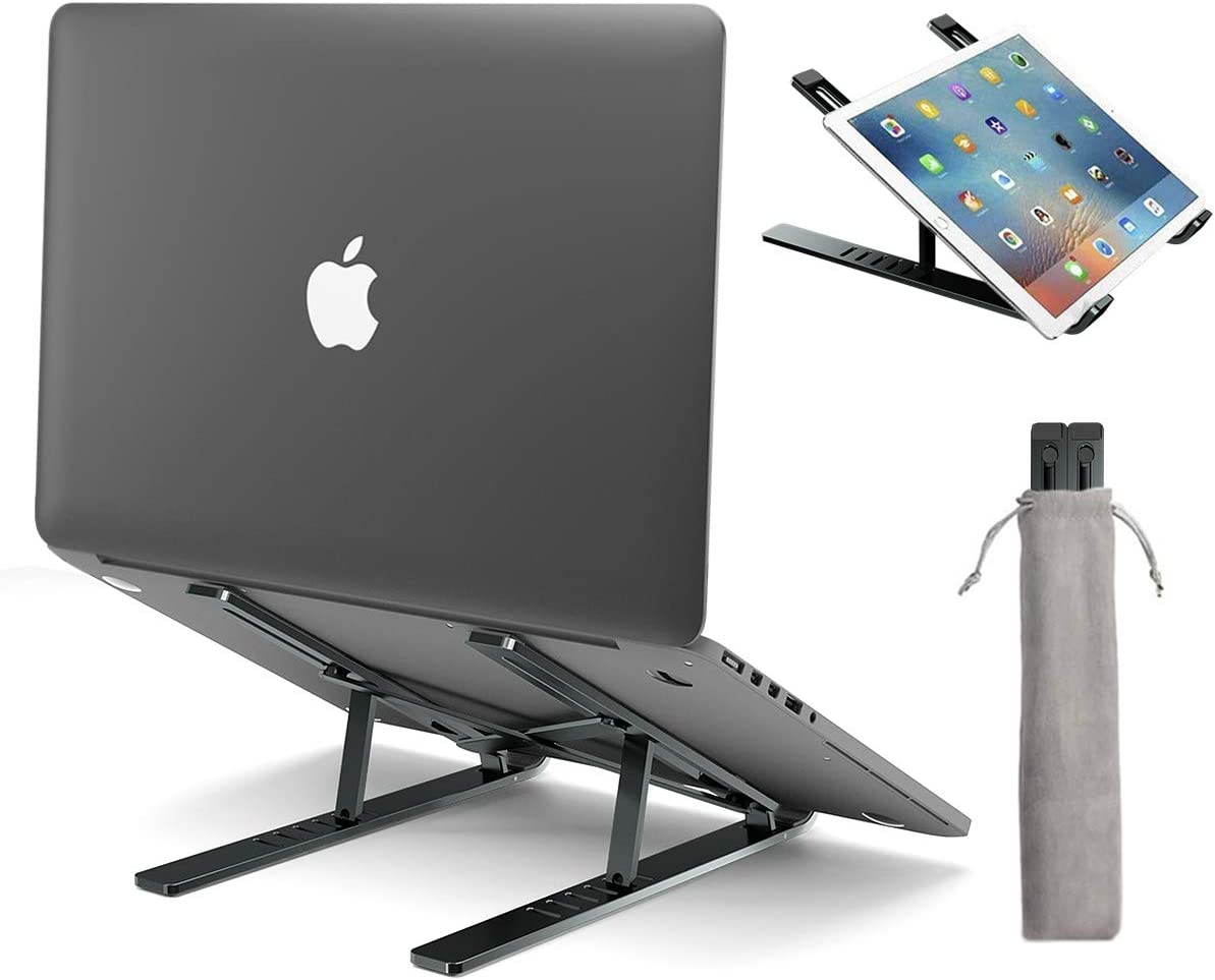 Upgraded Laptop Stand, Licheers Adjustable Aluminum Notebook Stand for Desk with Magnet, Portable Foldable Laptop Holder Compatible with All 10-15.6in Laptops (Gray)